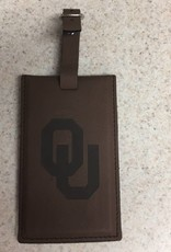 LXG OU Embossed Brown Leather Luggage Tag