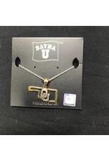 Dayna U DaynaU Gold State Outline w/ Sterling Silver OU Necklace
