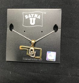 Dayna U DaynaU Gold State Outline w/ Sterling Silver OU Necklace