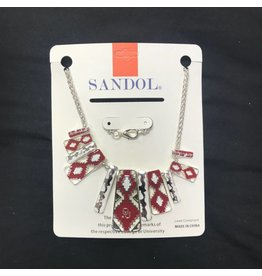 Sandol Sandol OU Aztec Design Crimson/White/Silvertone Necklace