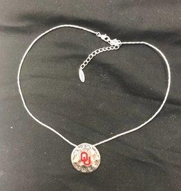 Sandol Sandol OU Oklahoma Sooners Round Silvertone Necklace