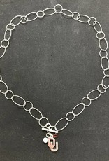 Dayna U Sterling Silver Hoop Chain OU Charm Necklace