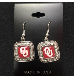 FTH FTH OU Domed Square Crystal Earrings