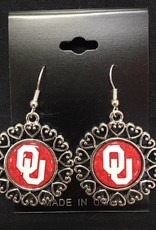 FTH FTH OU Domed Lacy Hearts Round Earrings