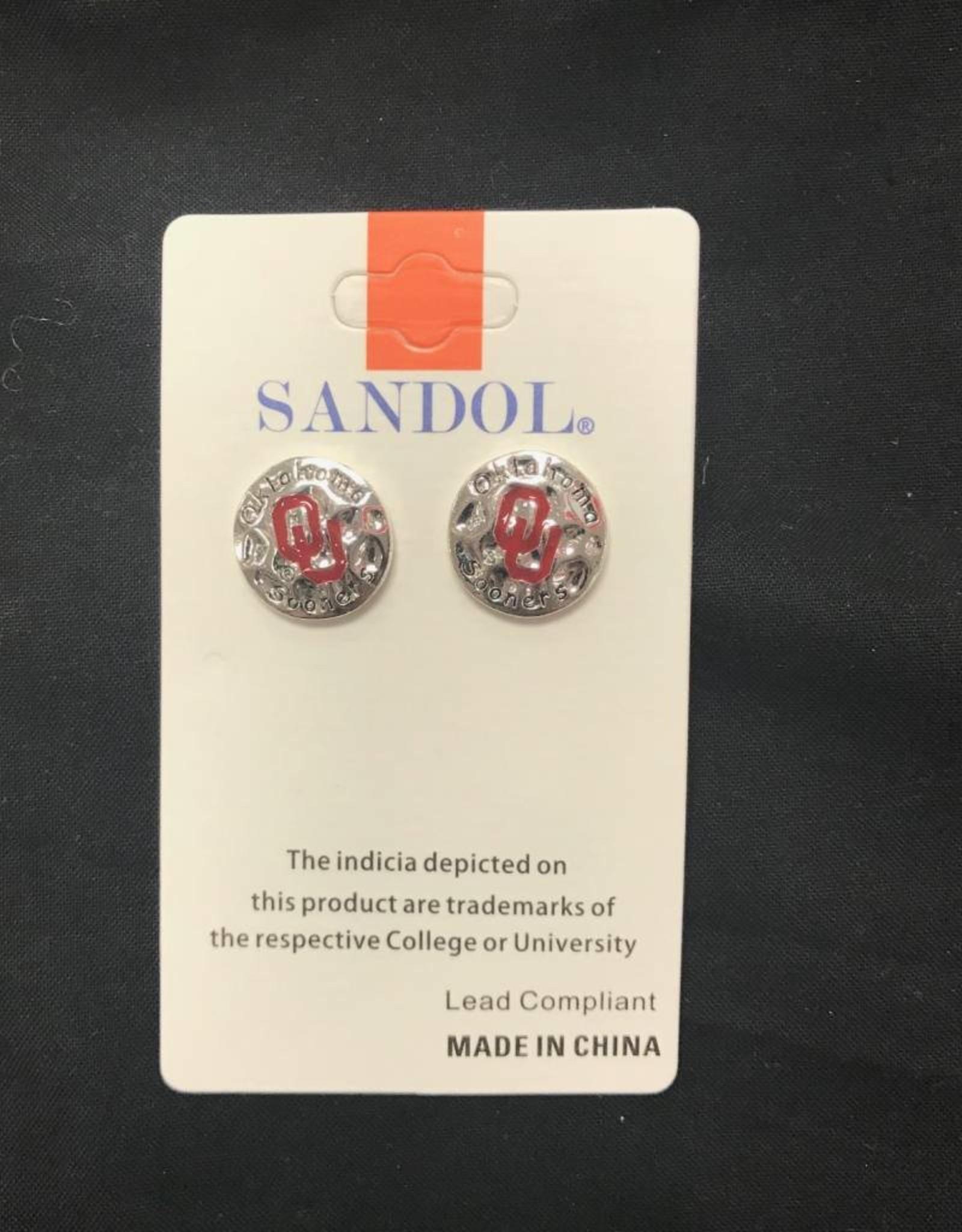 Sandol Sandol OU Round Disk Silvertone Earrings