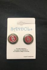 Sandol Sandol Round Crimson/Black/Silvertone Earring