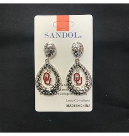 Sandol Sandol Teardrop OU Silvertone Earrings