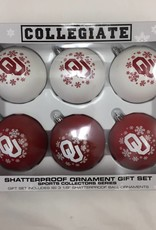 Topperscott OU Shatterproof 6pc Ornament Set