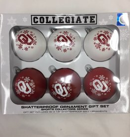 Topperscott OU Shatterproof 6pc Ornament Set