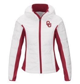 G-III 4 her Womens GIII Defense Polyfill Jacket With Hood White With Crimson Accents