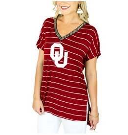 Gameday Couture Women's OU Pinstripe V-neck Beaded Tee