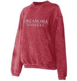 Chicka-d Women's Chicka-d Crimson Oklahoma Corded Crew Sweatshirt