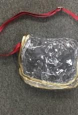 "Chicka-d Stadium Saddle Crossbody With Metalic Gold Trim 10""x8""x4"" (no logo)"
