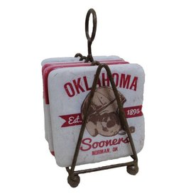 Legacy OU Schooner & Helmet Coaster Set In Wire Rack- Set of 4