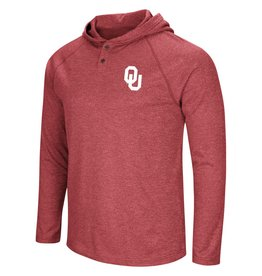 Colosseum Men's OU Porche Hooded Henley L/S Tee