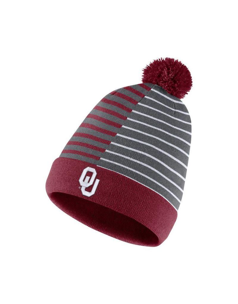 Nike Men's Nike  Striped Reversable Beanie (removable pom)