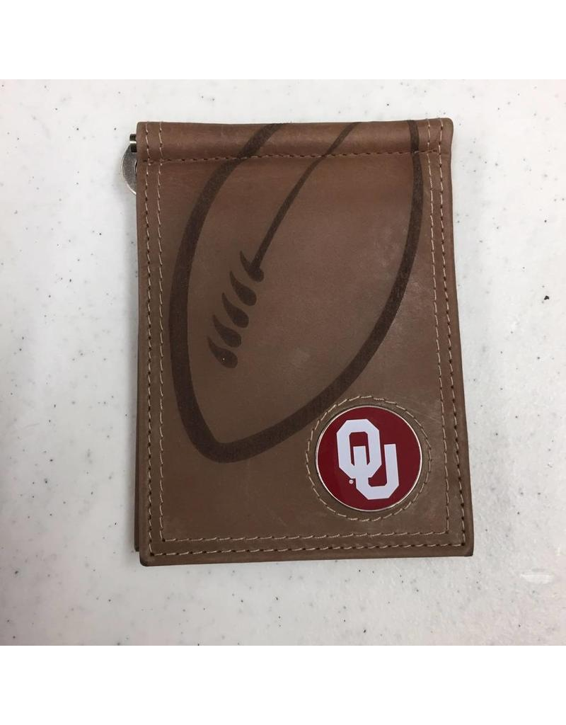 Danbury Tan Leather Embossed Football Money Clip Wallet w/ OU Emblem