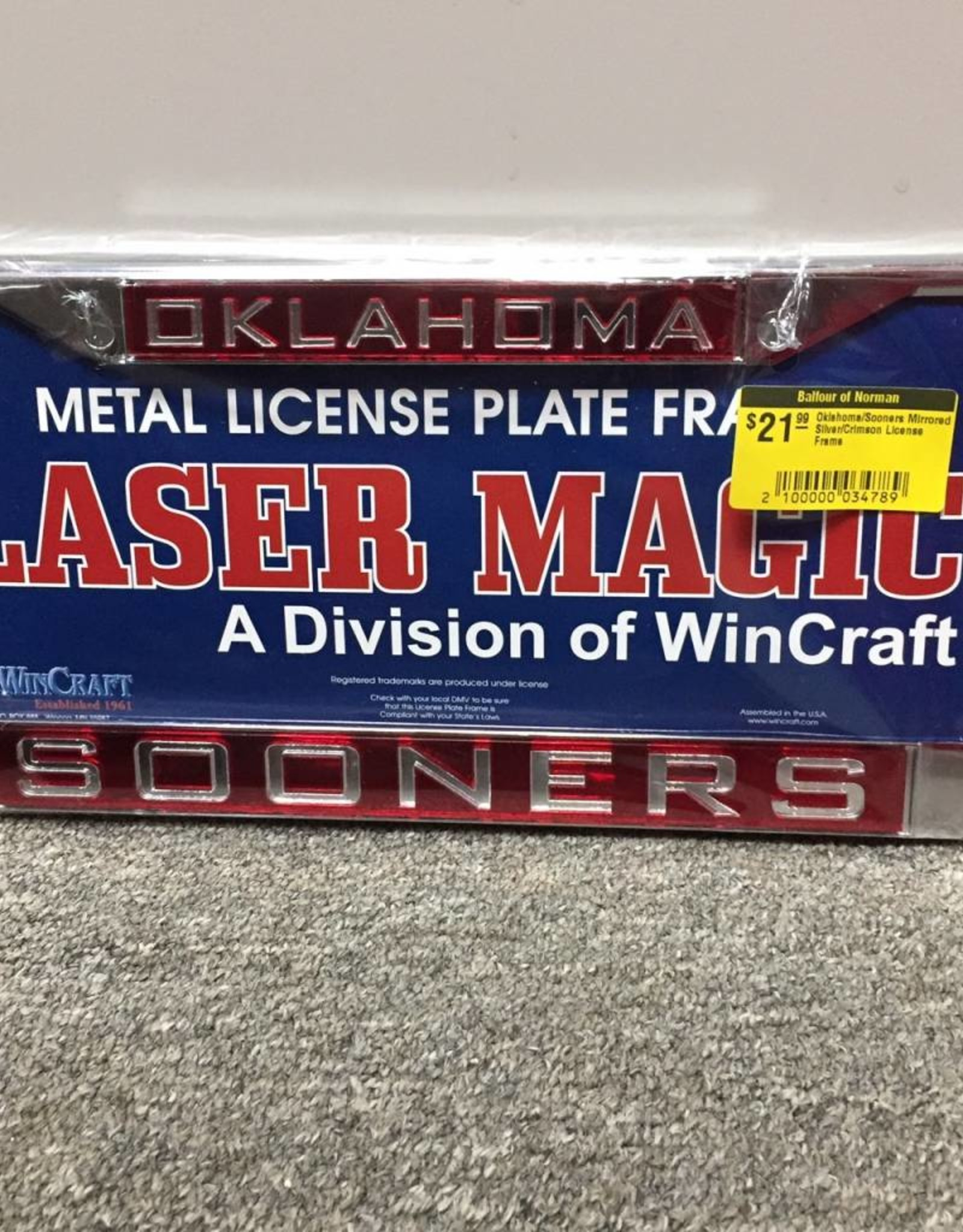 Laser Magic Oklahoma/Sooners Mirrored Silver/Crimson License Frame