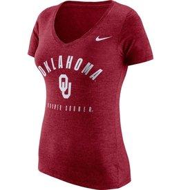 Nike Women's Nike Tri-Blend V-Neck Short Sleeve Tee Oklahoma OU Boomer Sooner