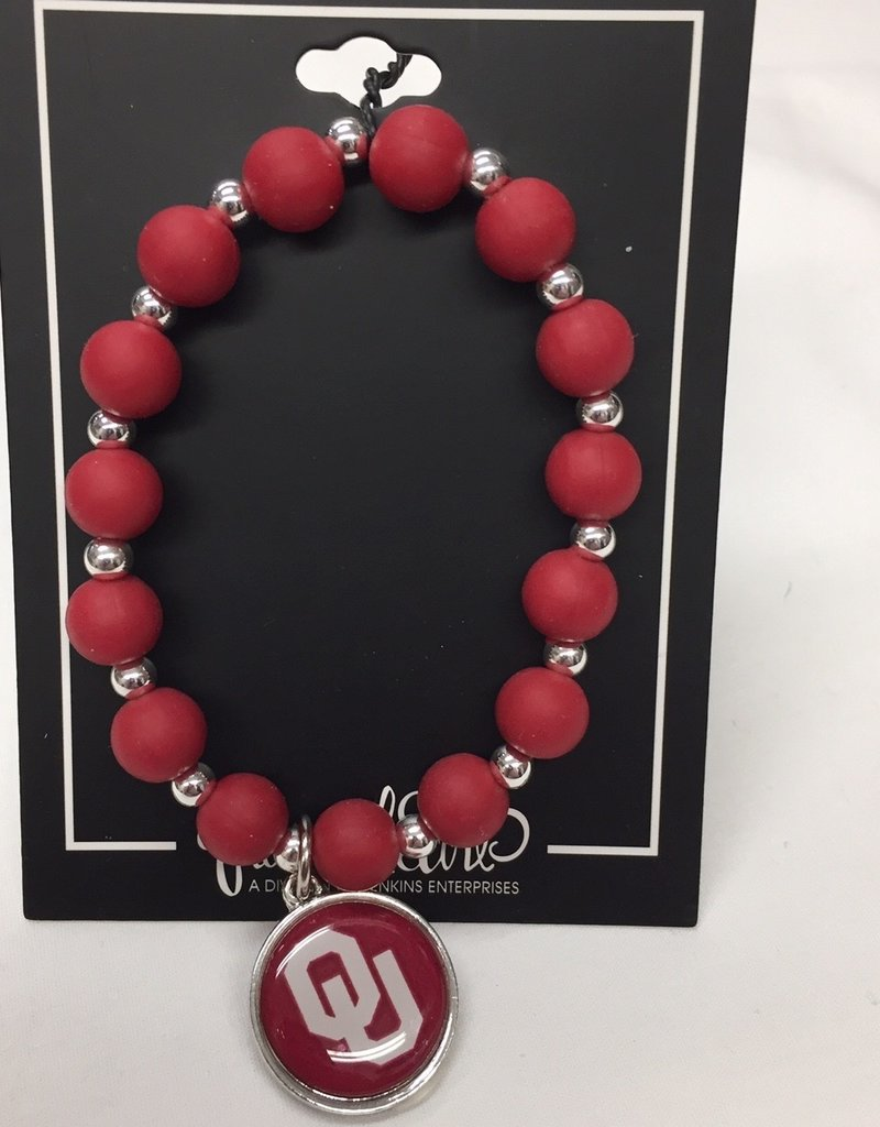 FTH FTH OU Sooners Silicone Bead Stretch Bracelet