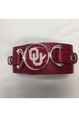 FTH FTH OU Sooners Crimson Dome Leather Strap Bracelet