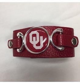 FTH FTH OU Sooners Crimson Dome Leather Strap Bracelet