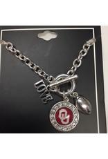 FTH FTH OU Sooners 3 Charm Football Bracelet