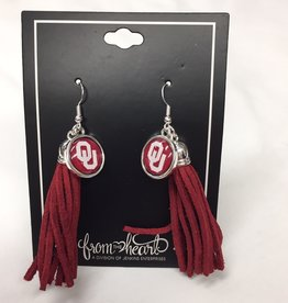 FTH FTH OU Sooners Tassel Logo Earrings