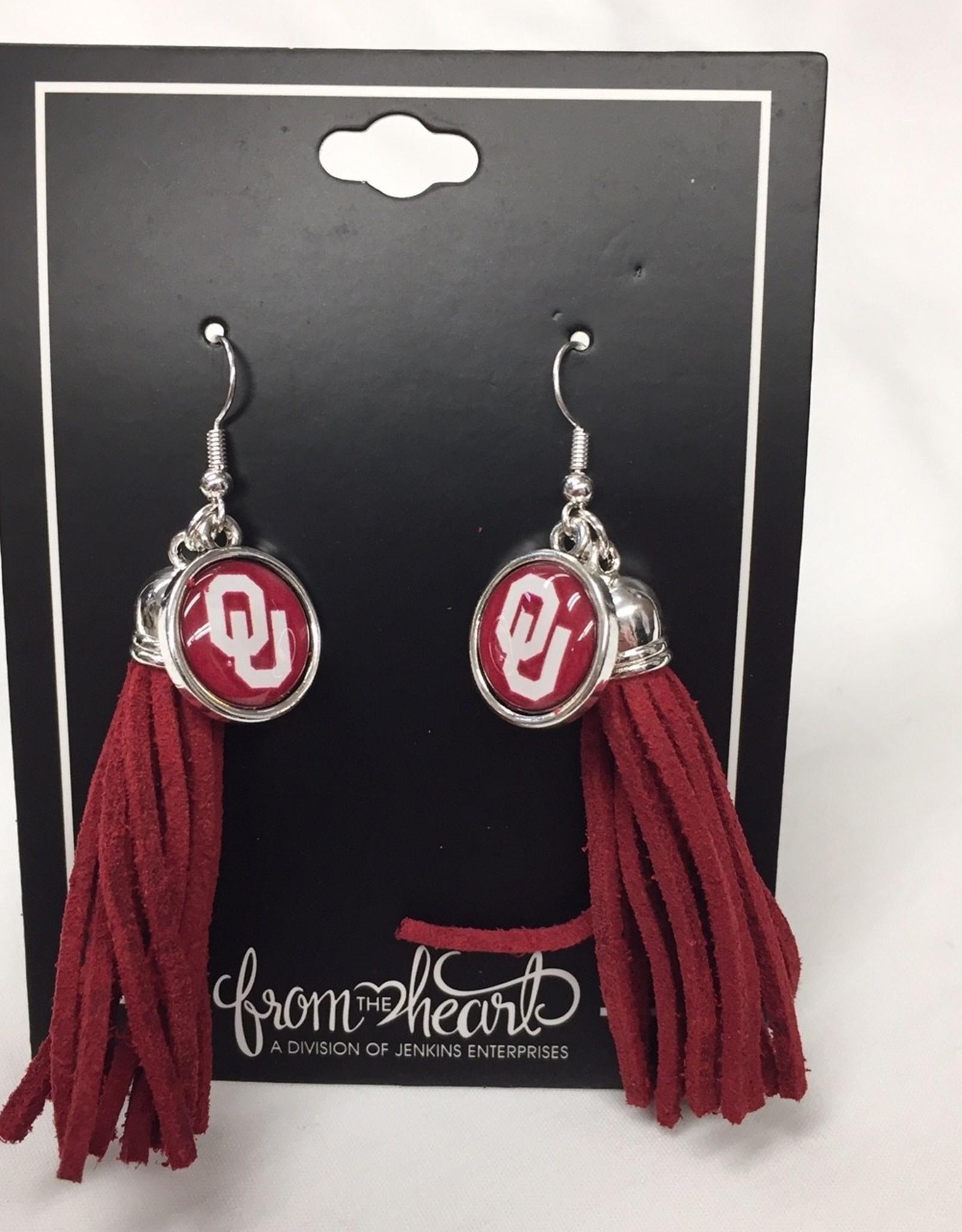 FTH FTH OU Sooners Tassel Logo Earrings