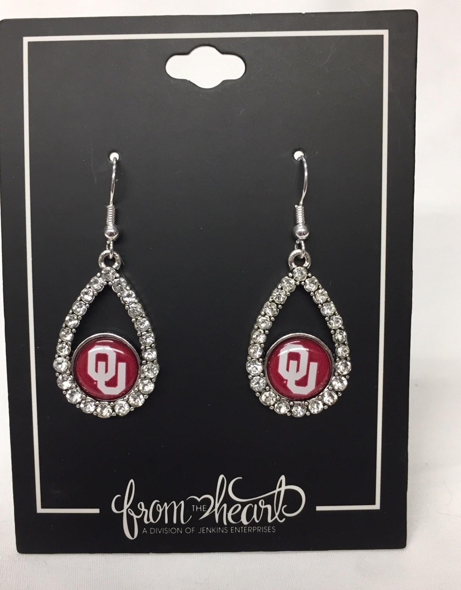 FTH FTH OU Crystal Tear Drop Earrings