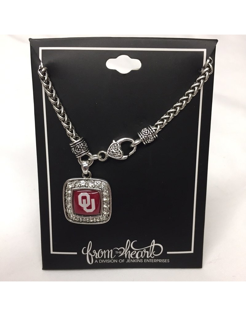 FTH FTH OU Crystal Square Braided Clasp Necklace