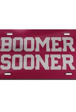 Laser Magic Acrylic Crimson w/ Silver Boomer Sooner License Plate