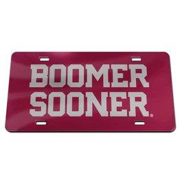 Laser Magic Acrylic Crimson w/ Silver Boomer Sooner License Plate