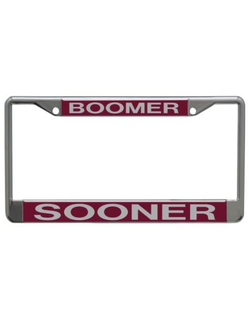 Laser Magic BOOMER SOONER Lasered Acrylic on Metal Licence Plate Frame