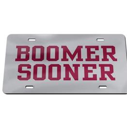 WinCraft Acrylic Silver w/ Crimson Boomer Sooner License Plate