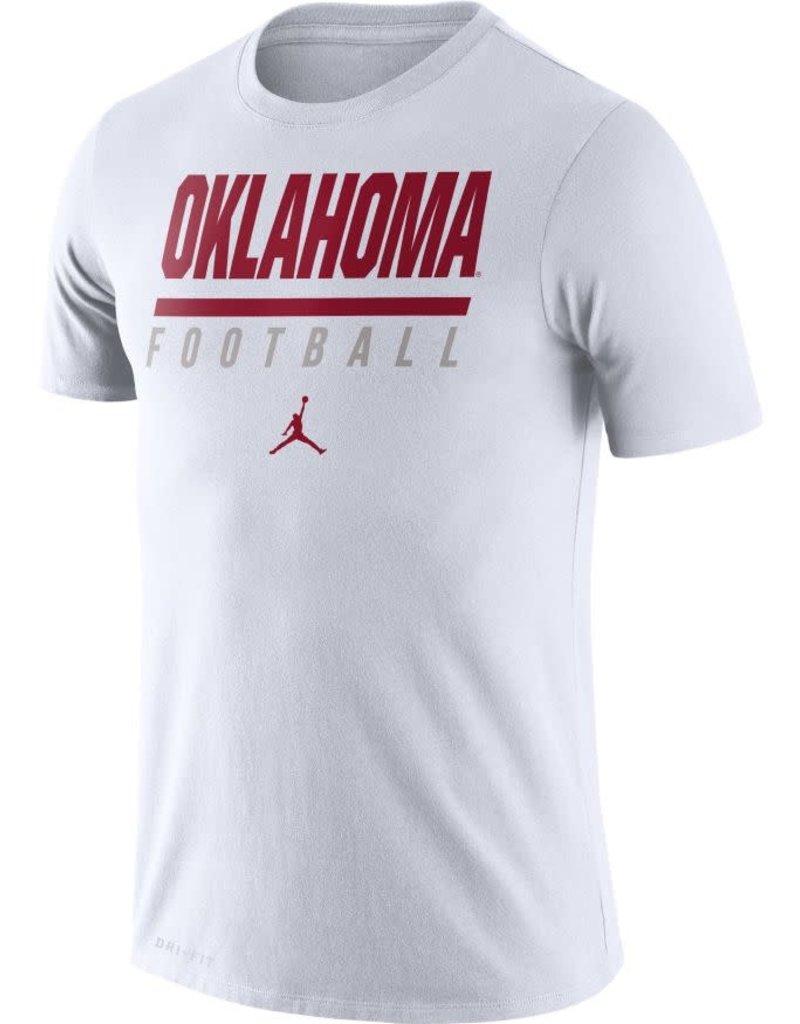 Jordan Men's Jordan White Oklahoma Football DriFit Cotton Icon Word Tee