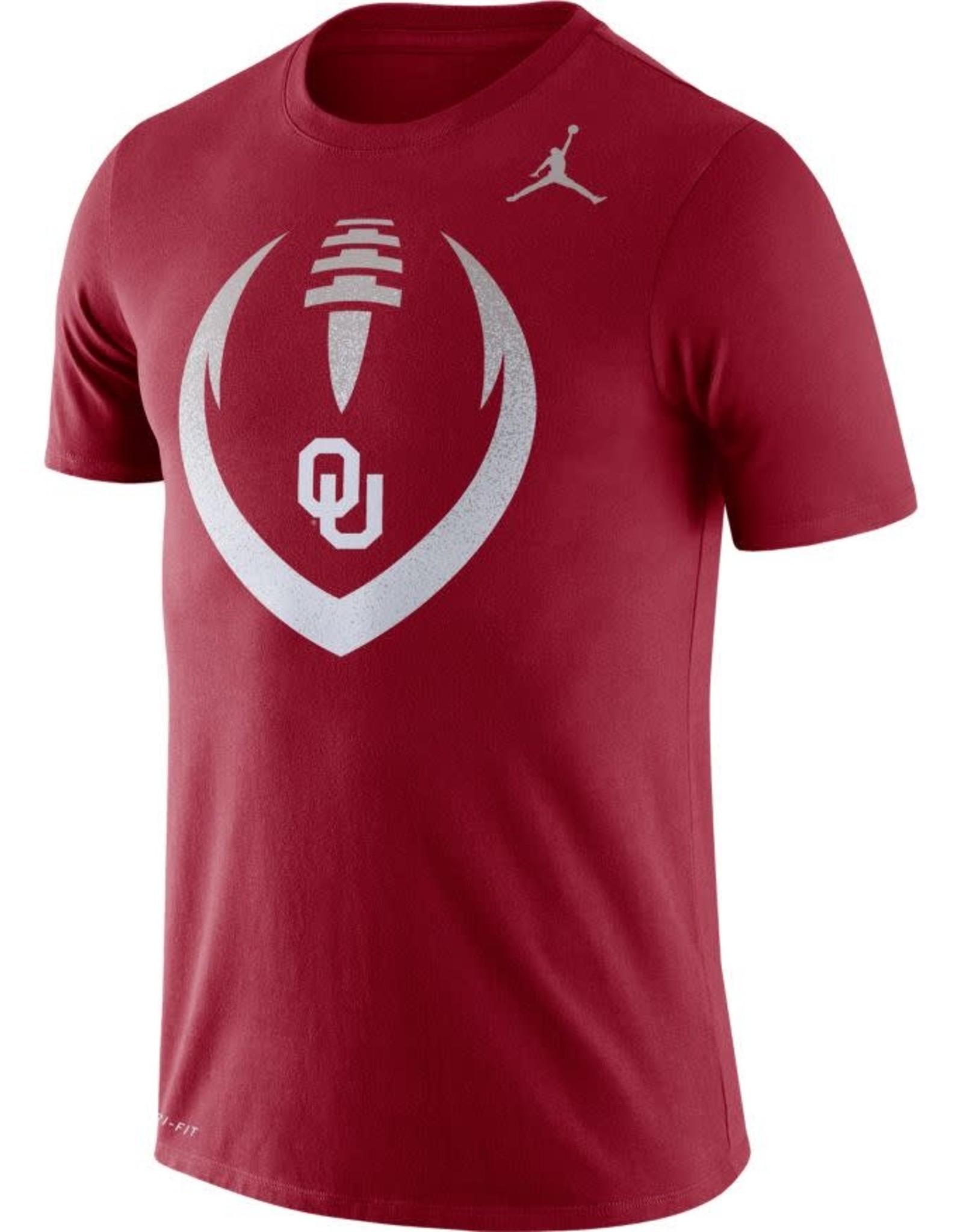 Jordan Men's Jordan Crimson DriFit Cotton OU Football Icon Tee