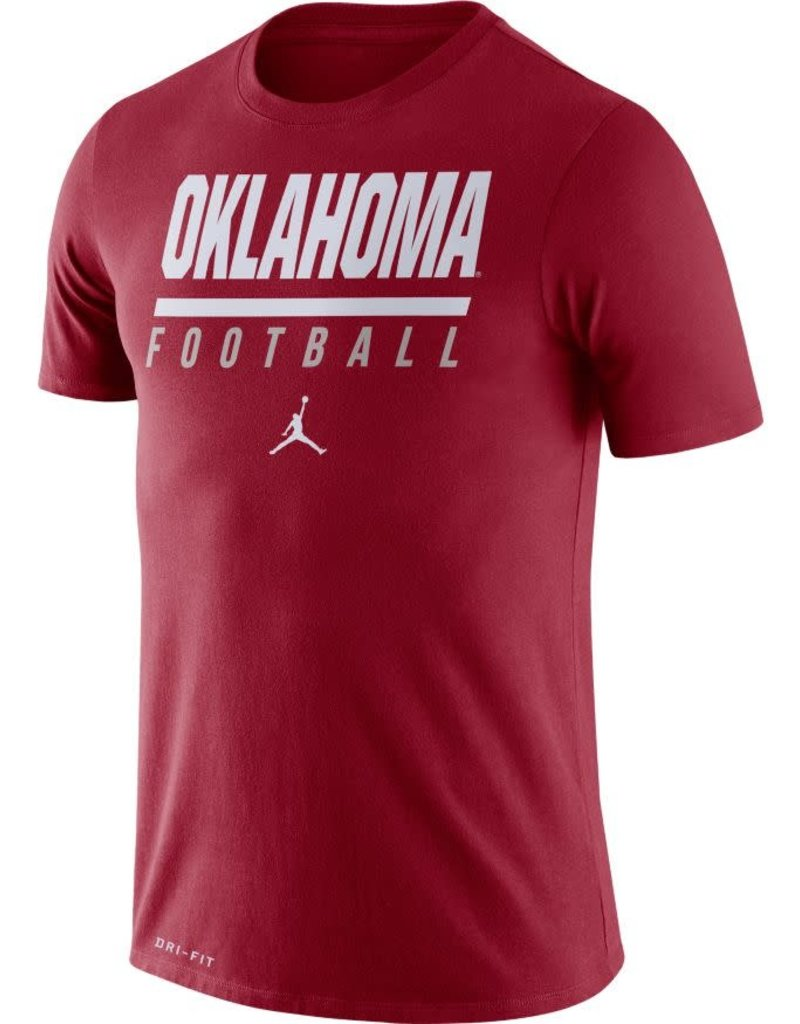 Jordan Men's Jordan Crimson Oklahoma Football DriFit Cotton Icon Word Tee