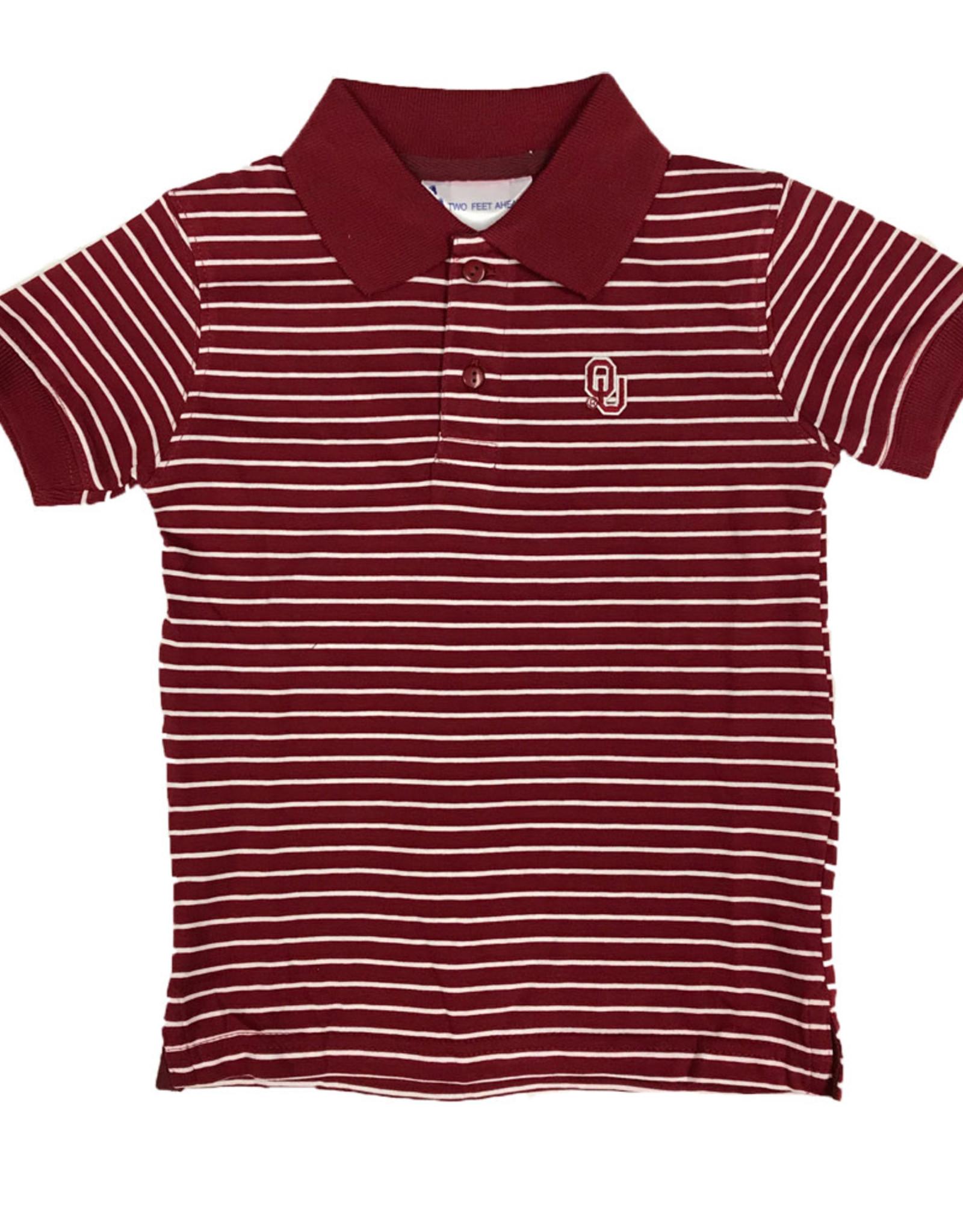 Two Feet Ahead Toddler OU Stripe Jersey Golf Shirt