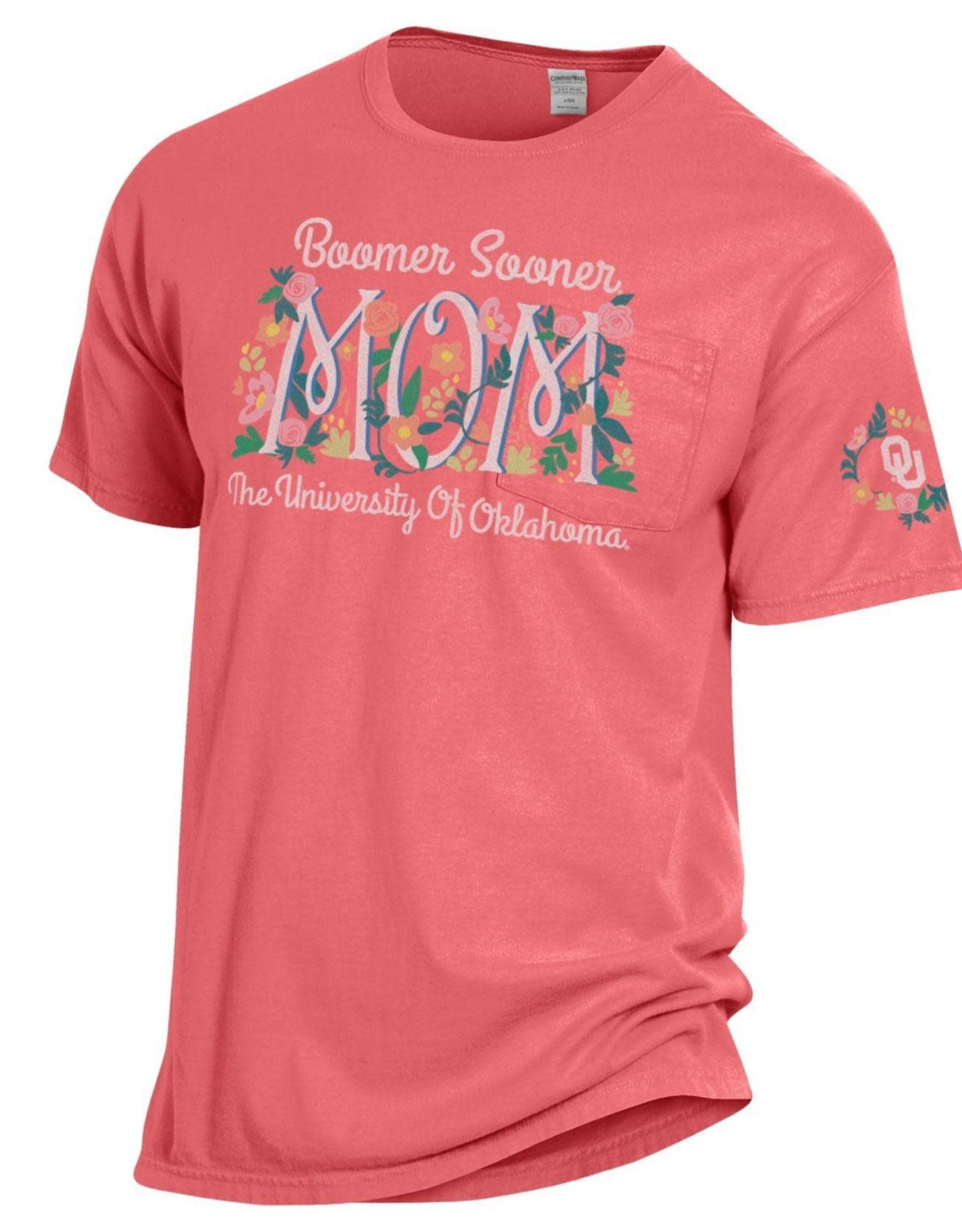 Hanes Comfort Wash The University of Oklahoma Mom Floral Pocket Tee