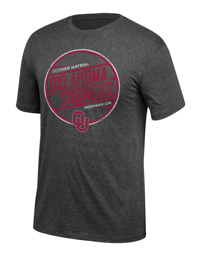 Top of the World Men's TOW Mock Twist Tee Sooner Nation OU Blk Hthr
