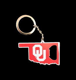 Team ProMark OU State Shape Bottle Opener Key Chain