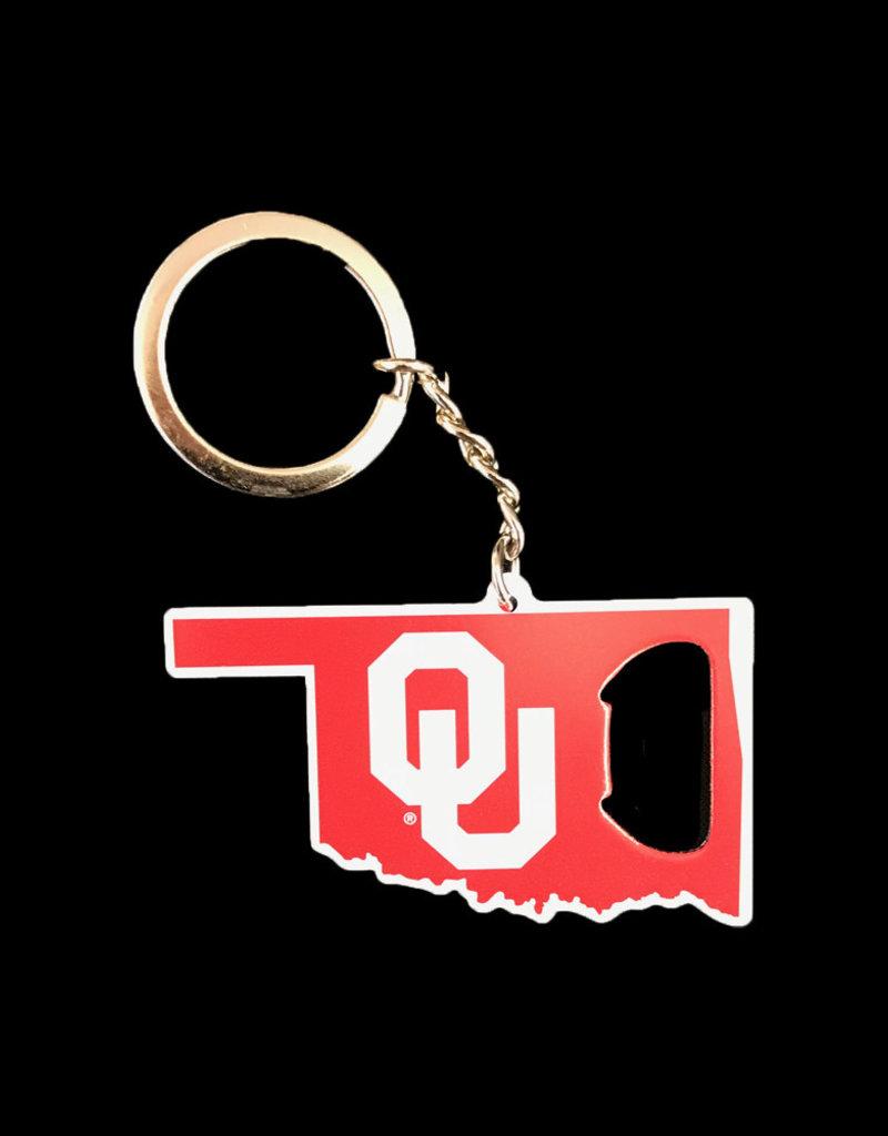 Team ProMark OU State Shape Bottle Opener Key Chain