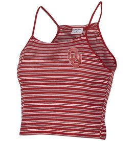 ZooZatz Women's OU Crimson Striped Strive Tank