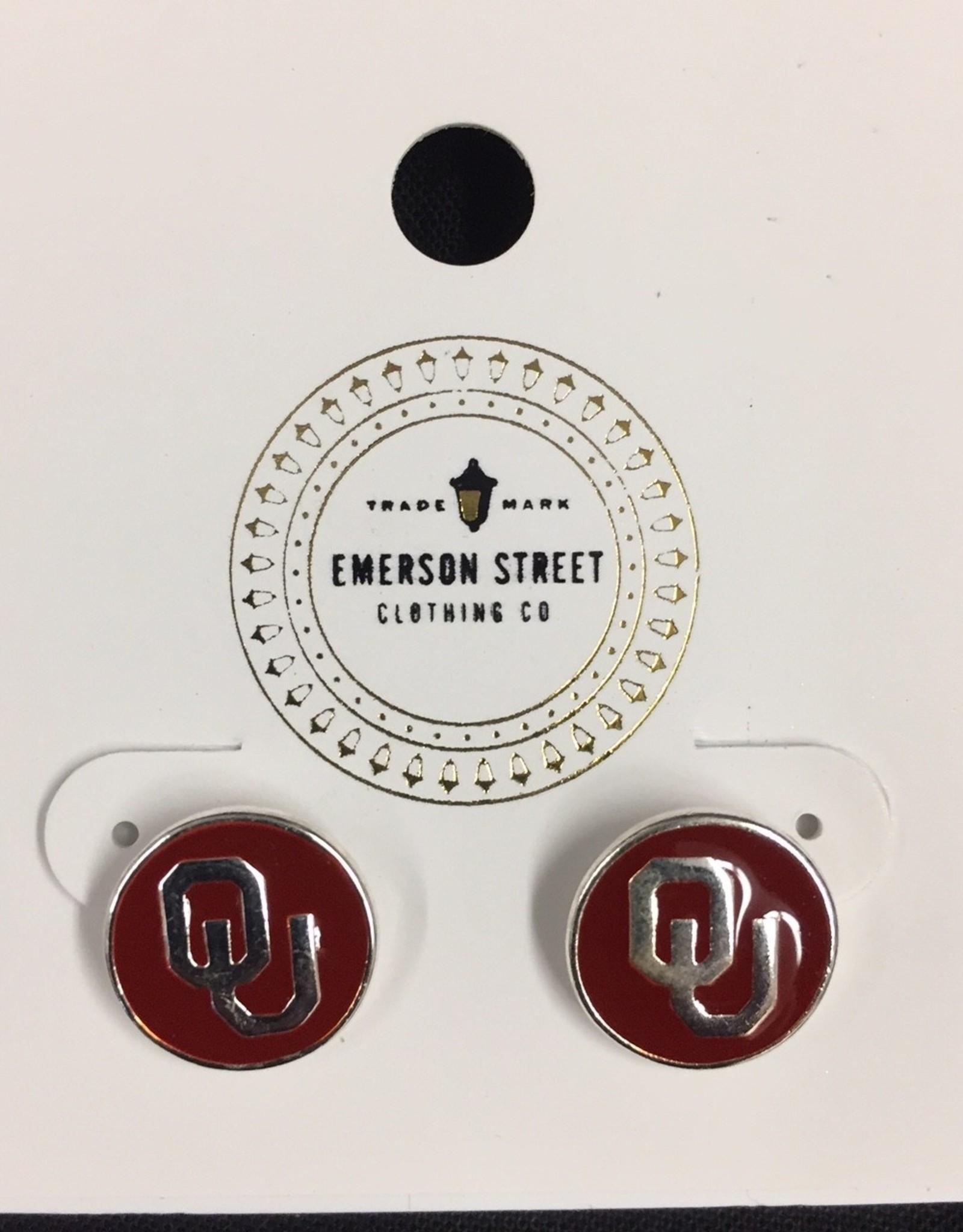 Emerson Street OU Casey Stud Earrings Silver