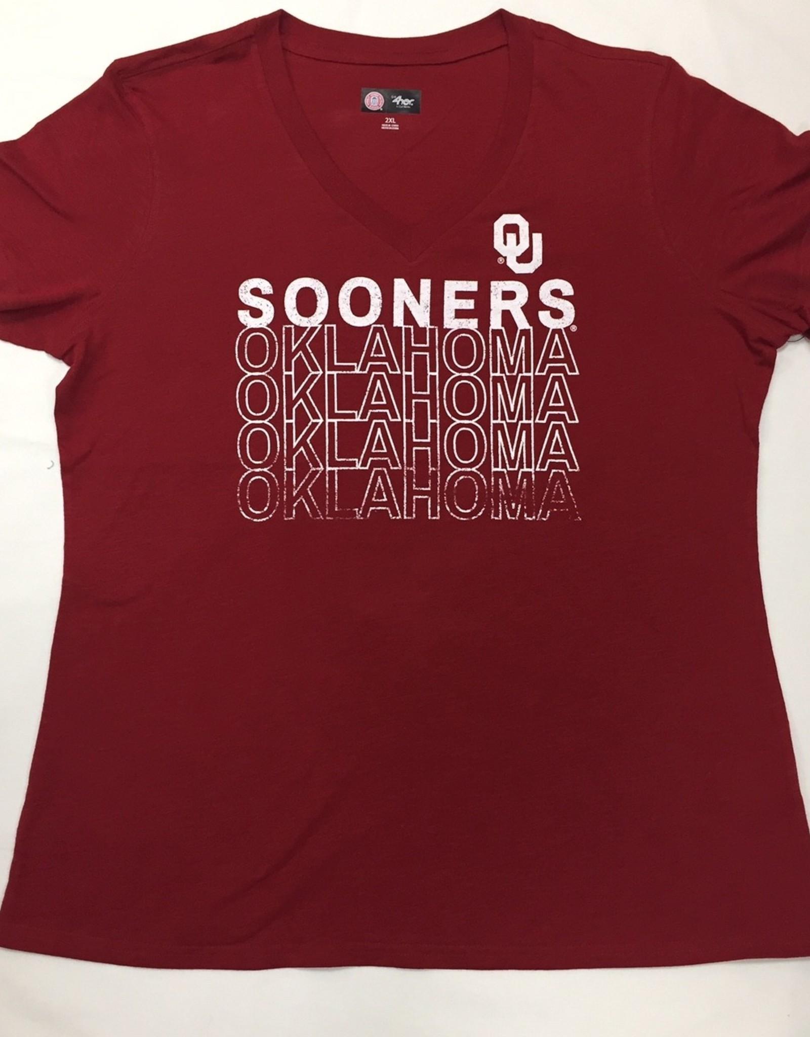 GIII Women's GIII OU Sooners Oklahoma V-Neck S/S Tee