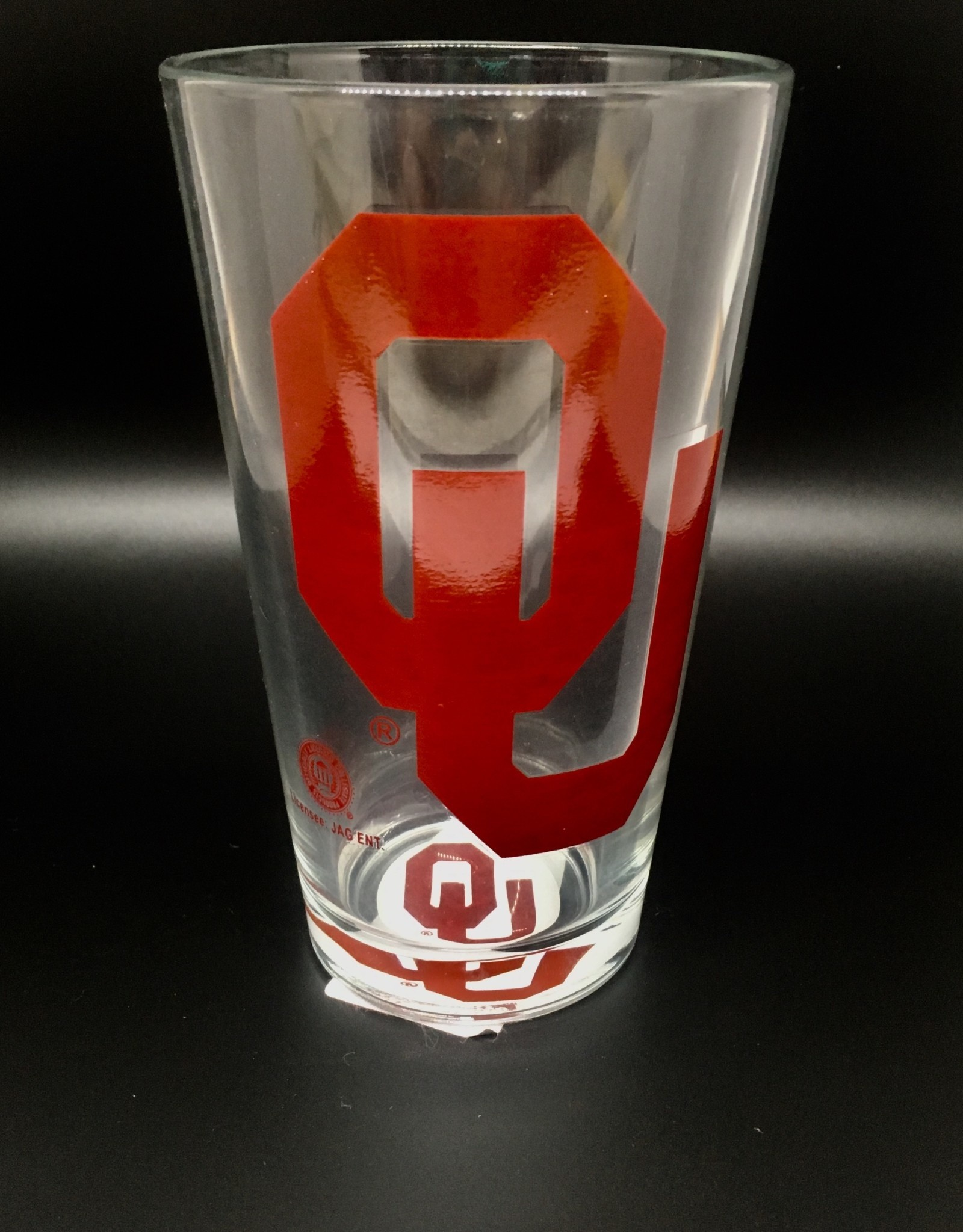 OU Screen Printed Pint Glass with OU In Bottom
