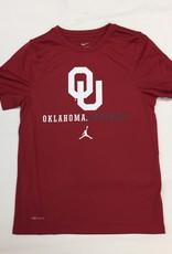 Jordan Youth Jordan Brand Dri-Fit Legend SS Tee OU Oklahoma Football-Crimson