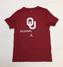 Jordan Youth Jordan Brand Dri-Fit Legend SS Tee OU Oklahoma Football-Crimson