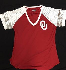 G-III 4 her Women's G-III OU Sooners Crimson w/ Mesh Sleeve Foil Stripes